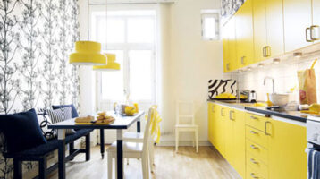 Cuina de color groc amb parquet