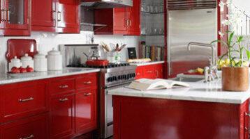 Cuina de color vermell brillant