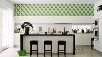 Cuina moderna amb paper pintat